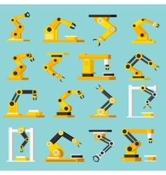 Automation Conveyor Orthogonal Flat Icons Set vector image vector image