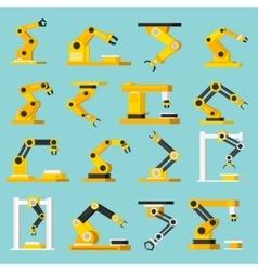 Automation conveyor orthogonal flat icons set vector
