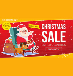 big christmas sale banner with happy santa claus vector image