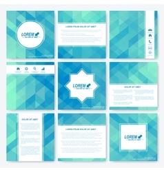 Blue set of square template brochure business vector