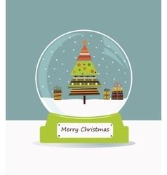 Christmas glass ball with fir tree vector image vector image