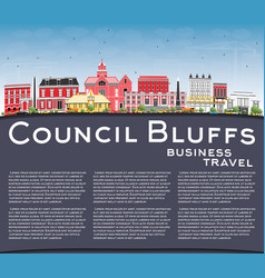 Council bluffs iowa skyline with color buildings vector