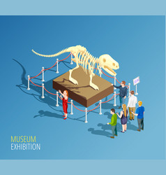Dinosaur exhibition background composition vector