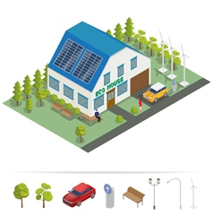 Eco house isometric building alternative energy vector