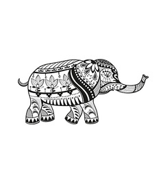 Ethnic ornamented baby elephant vector
