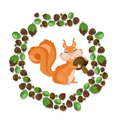 funny cute squirrel character vector image vector image