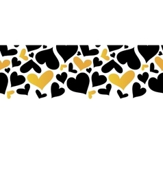 Gold and black hearts horizontal seamless vector