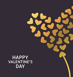 Happy Valentines Day Greeting Card Golden Hearts vector image vector image