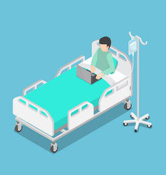 Isometric businessman working on hospital bed vector