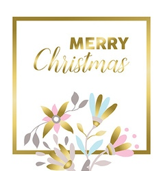 Merry christmas gold floral greeting card design vector image
