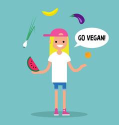 Modern lifestyle go vegan young blond girl vector
