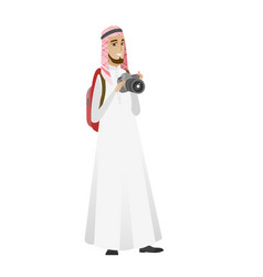 Muslim nature photographer with digital camera vector