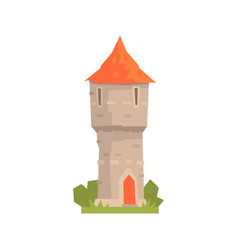 Old stone tower with red roof ancient vector