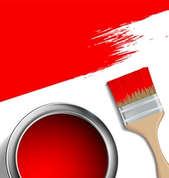 Paint brush and a bucket of red paint vector