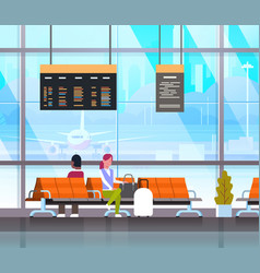 people waiting for takeoff in airport hall or vector image vector image