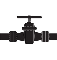 pipe with flange and valve vector image