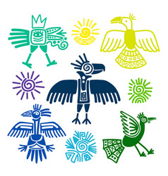 Primitive tribal birds paintings vector