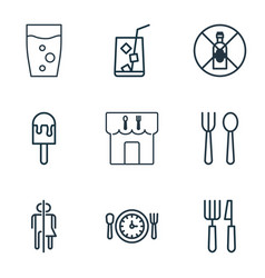 Set of 9 food icons includes restroom soda drink vector