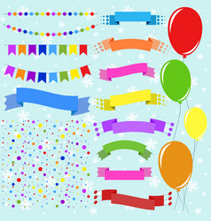 Set of flat colored isolated balloons on ropes vector