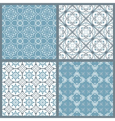 Set of four vintage symmetric seamless patternsai vector image vector image