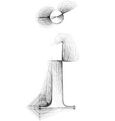 Sketch font letter i vector