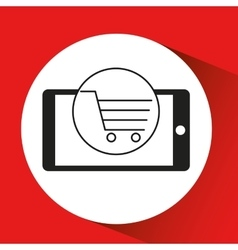 smartphone e-commerce shopping cart graphic vector image