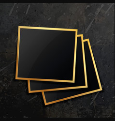 Stack of golden photo frame vector