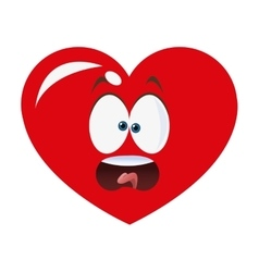 surprised heart cartoon icon vector image