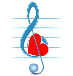 Treble clef and heart vector image
