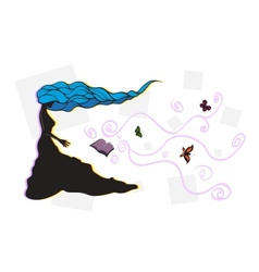 woman with long curly blue hair vector image