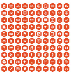100 cartography icons hexagon orange vector