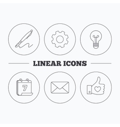 Mail heart and lightbulb icons vector