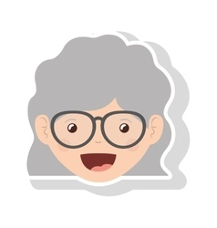 Front face elderly woman wavy hair with glasses vector