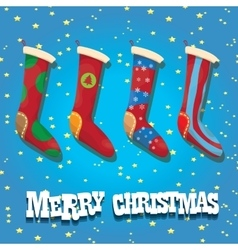 cartoon cute christmas stocking or socks vector image