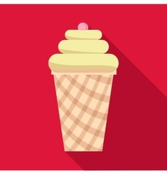 Vanilla ice cream in waffle cup icon flat style vector
