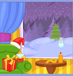 Christmas room concept landscape cartoon style vector