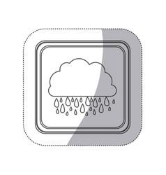 sticker monochrome silhouette square button with vector image