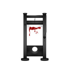 Guillotine in black design with bloody blade vector