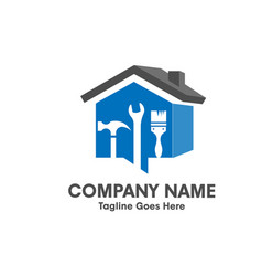home repair emblem with tool and symbol of a 3d ho vector image