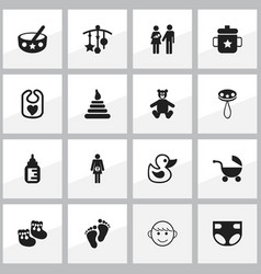 set of 16 editable kid icons includes symbols vector image