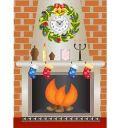 White christmas fireplace vector
