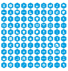 100 sport life icons set blue vector