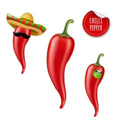 Hot chilli pepper big set vector