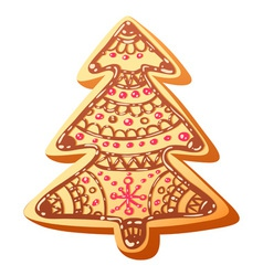 Christmas gingerbread baked cookie isolated vector image