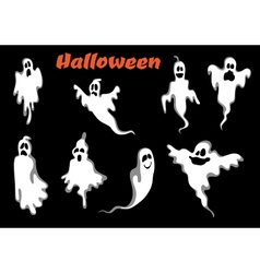 Night halloween ghosts set vector image