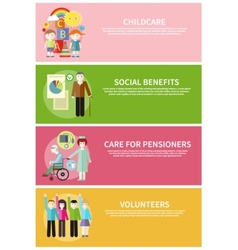 Volonteer childcare care pensioners social benefit vector
