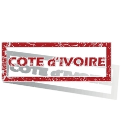Cote d ivoire outlined stamp vector