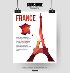 France travel background brochure with france map vector