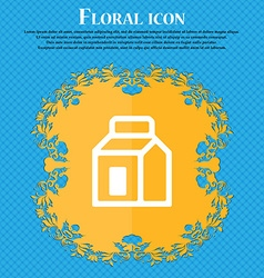 Milk juice beverages carton package floral flat vector