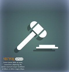 Judge hammer icon on the blue-green abstract vector